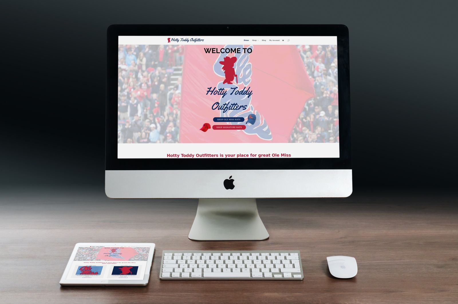 Desktop and iPad versions of Hotty Toddy Outfitters website