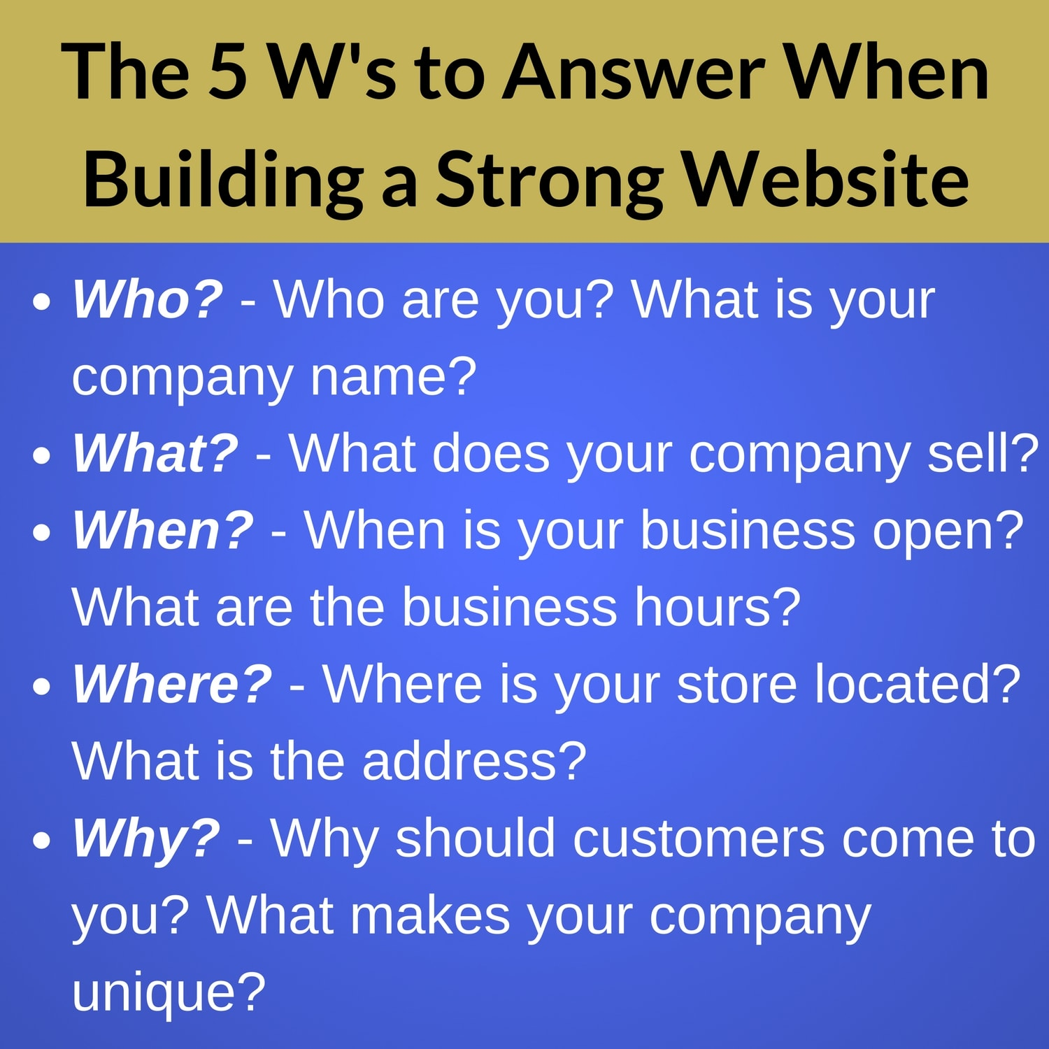 The 5 Ws you need to answer when building a strong website