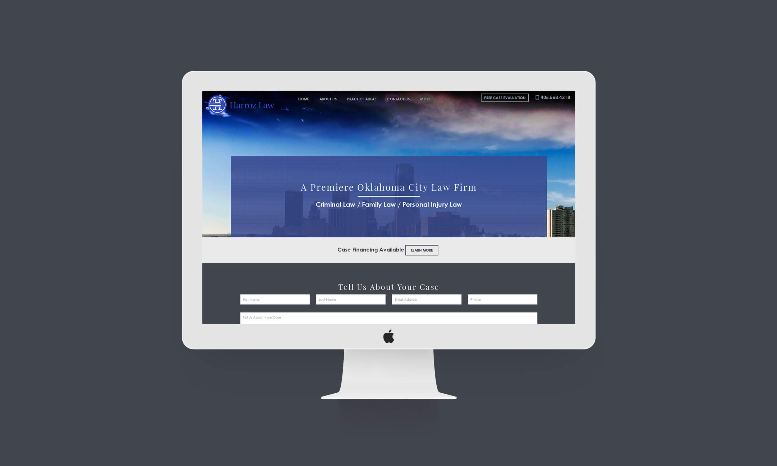harroz law homepage imac mockup