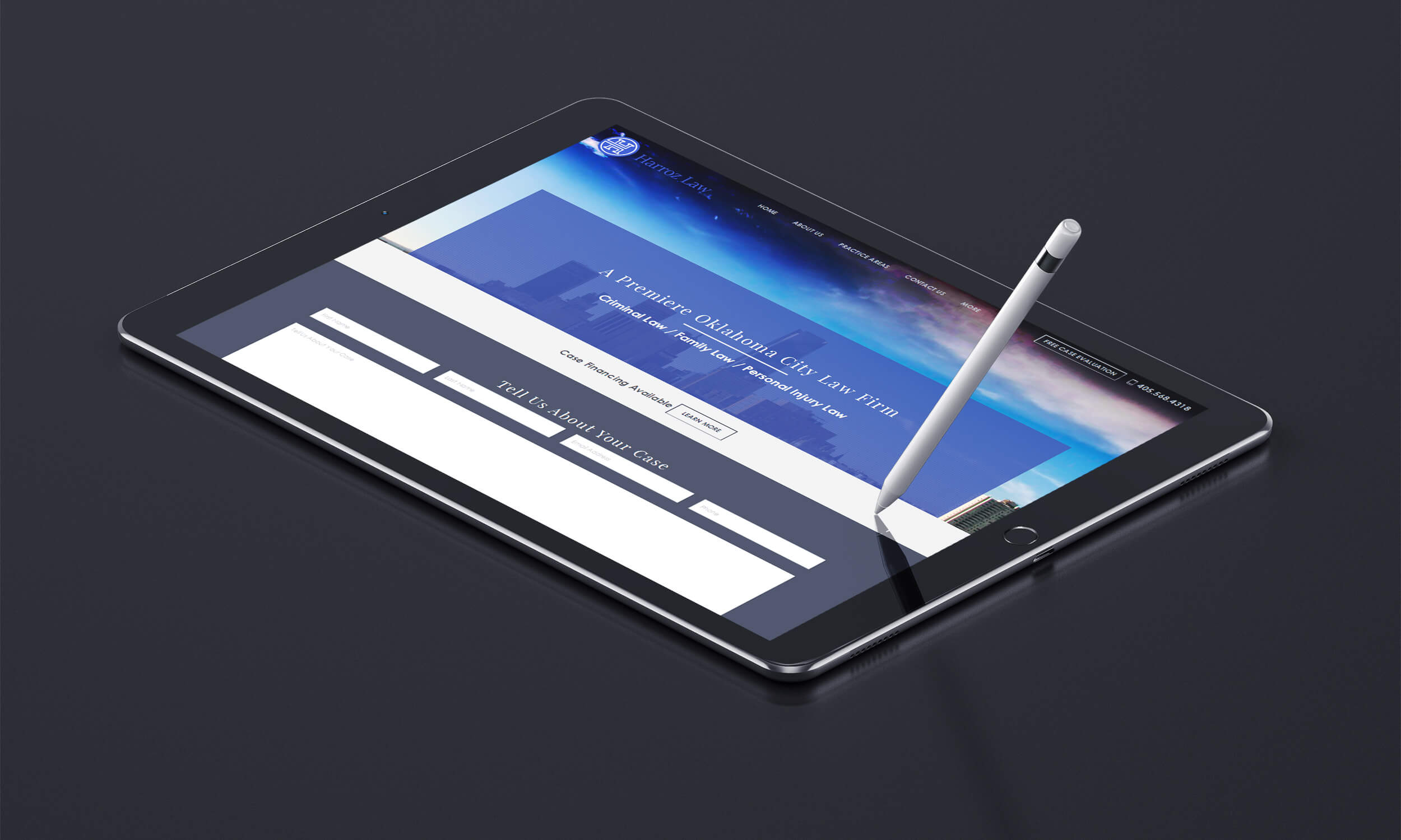 harroz law homepage tablet mockup