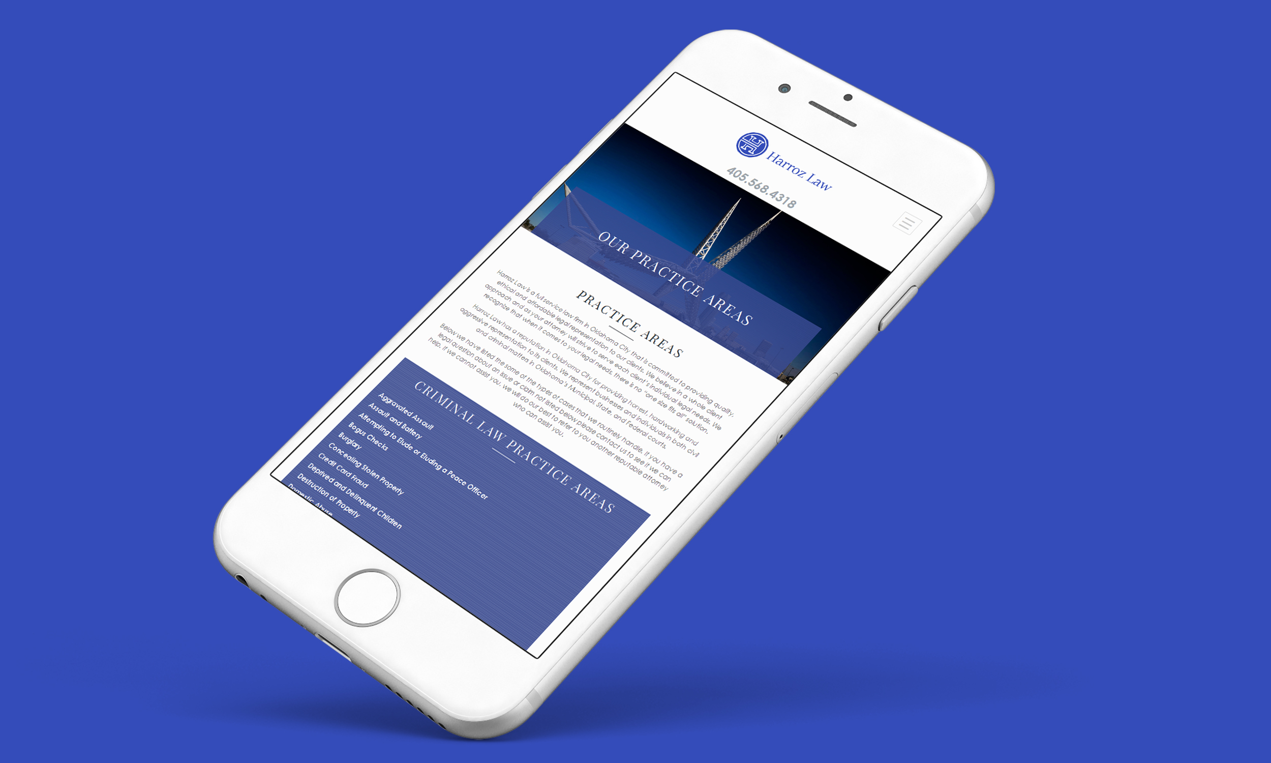 harroz law practice areas iphone mockup