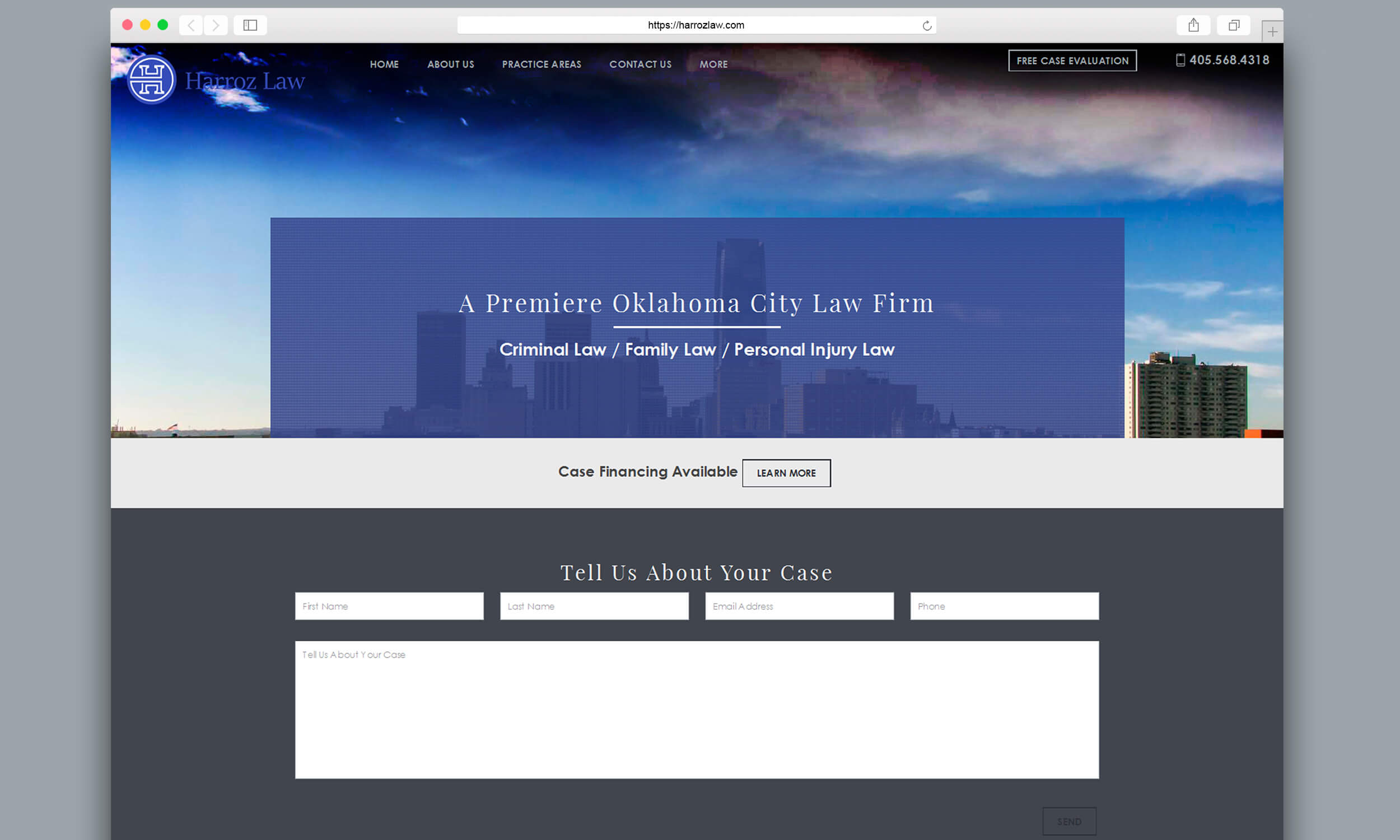 harroz law homepage screenshot safari mockup